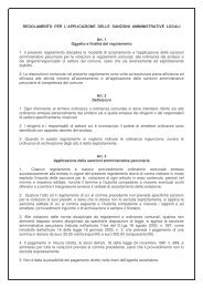 REGOLAMENTO PER L'APPLICAZIONE DELLE SANZIONI ...