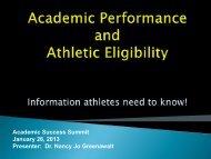 Academic Peformance and Athletic Eligibility