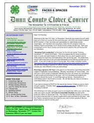 The Newsletter for 4-H Families & Friends November 2010