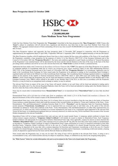 HSBC France € 20,000,000,000 Euro Medium Term Note Programme