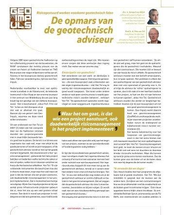 Opmars geotechnisch adviseur - GeoTechniek