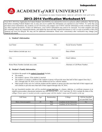 Collection Fafsa Independent Verification Worksheet Photos ...