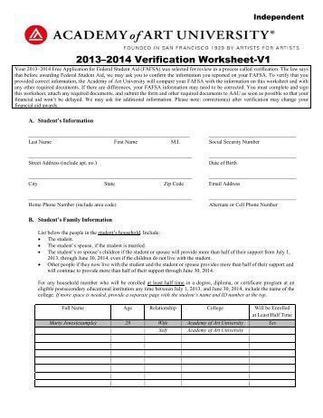 Verification Worksheet V1 Independent VFI - Bucks County ...