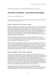 The Rotary Foundation - eine kritische Betrachtung - Rotary Schweiz