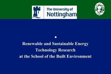 Research into sustainable energy technologies in buildings at the ...