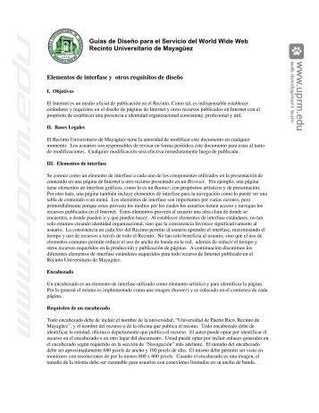 Guías de Diseño para el Servicio del World Wide Web ... - UPRM