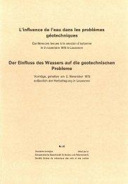 L'influence de l'eau dans les problemes geotechniques Der Einfluss ...