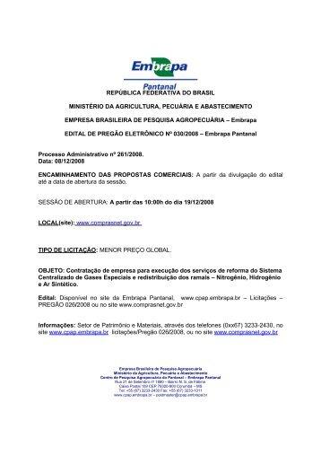 REPÚBLICA FEDERATIVA DO BRASIL - Embrapa Pantanal