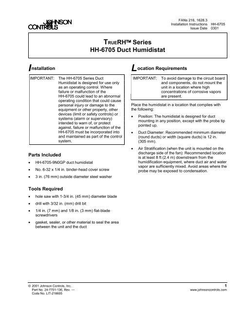 TRUERH Series HH-6705 Duct Humidistat     - Johnson Controls
