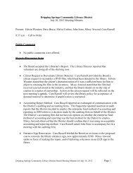Page 1 Dripping Springs Community Library District July 18, 2012 ...