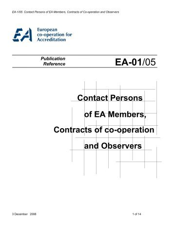 EA-1/05 Contact Persons of EA Members, Contracts of Co-operation ...