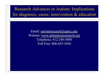 Research Advances in Autism: Implications for diagnosis, cause ...