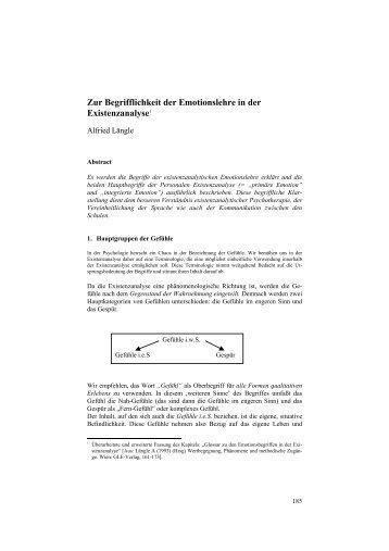Zur Begrifflichkeit der Emotionslehre in der Existenzanalyse1