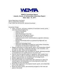 Awards, Grants, Scholarships Report, September 2011 - WEMTA