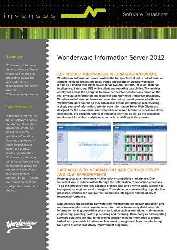 Wonderware Information Server 2012 - Klinkmann.