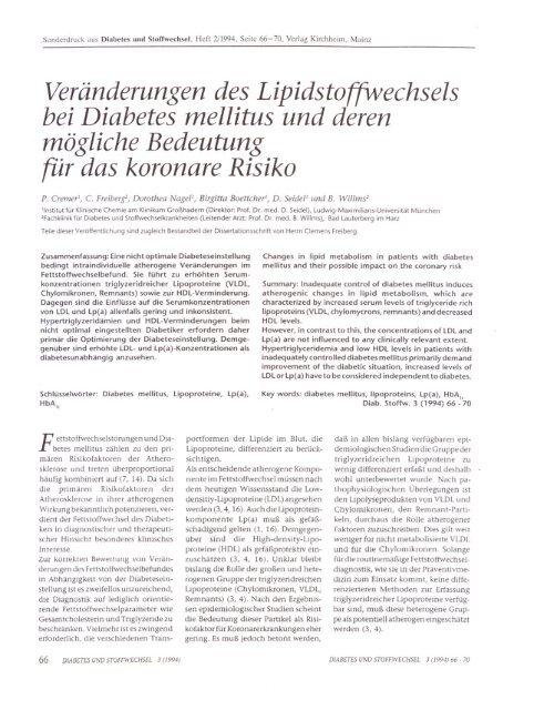 Diabetes und Stoffwechsel Heft 2_66_70 1994 - Prof. Dr. med. Dr ...