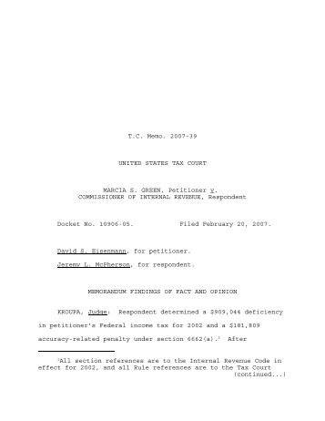 TC Memo. 2007-39 - U.S. Tax Court