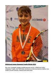 Athleticum Junior Champion Trophy Winter 2013 - Solothurn Tennis