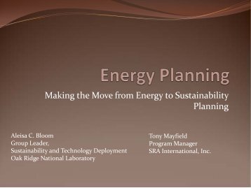 Making the Move from Energy to Sustainability Planning ... - E2S2