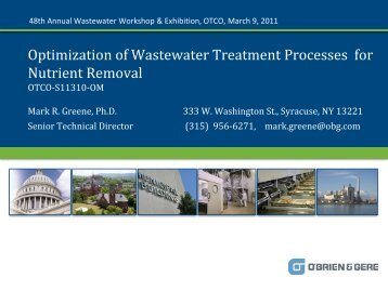 Optimization of Wastewater Treatment Processes for ... - Ohiowater.org