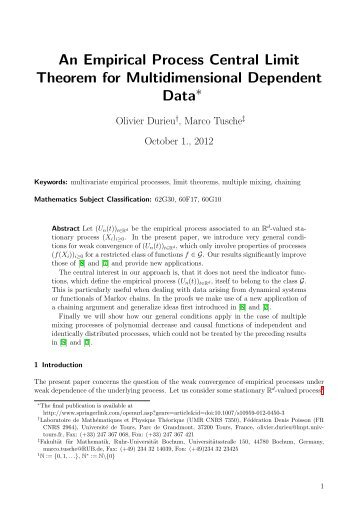 An Empirical Process Central Limit Theorem for ... - LMPT