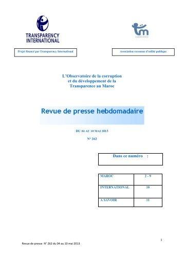 Revue de presse n° 262 du 04 au 10 mai 2013 - Transparency