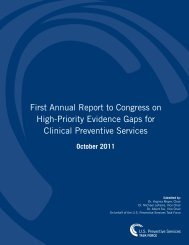 First Annual Report to Congress on High-Priority Evidence Gaps for ...