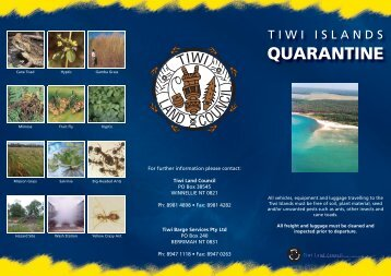 Click here for quarantine information - Tiwi Land Council