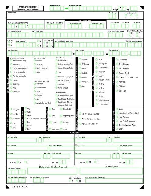 Mississippi Uniform Crash Report, Revised 1/2003 - NHTSA