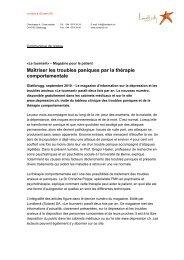 Communiqué de Presse ĞLe Tournant 9ğ - Depression.ch