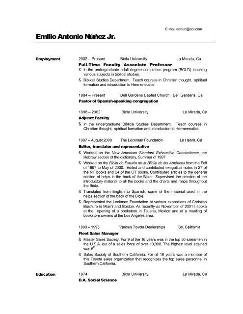 Emilio Nunez - CV - Biola - Biola University