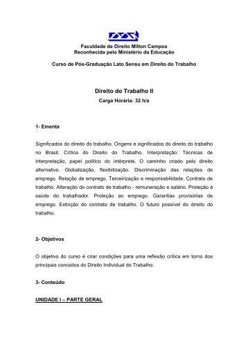 Direito do Trabalho II - Milton Campos