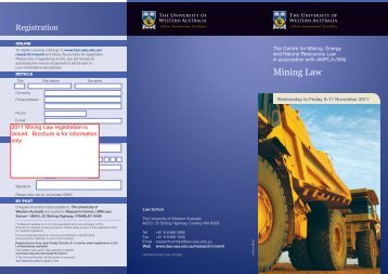 Mining Law - The University of Western Australia