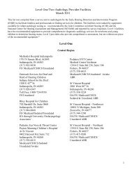 Level One/Two Audiology Provider Facilities ... - State of Indiana