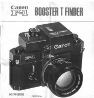 Canon F-1 Booster T Finder Instructions - James K Beard