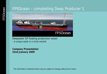 FPSOcean – completing Deep Producer 1