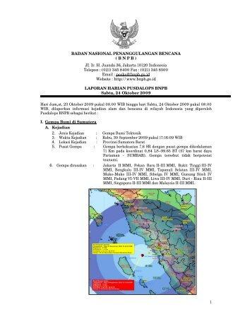 Laporan Harian 24 Oktober 2009 - BNPB