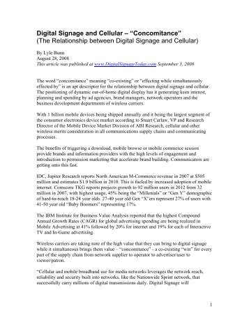 """Digital Signage and Cellular – """"Concomitance"""" (The ... - Lyle Bunn"""