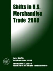 Shifts in U.S. Merchandise Trade 2008 - USITC