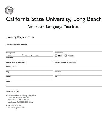 Housing Request Form Page One Name  Address