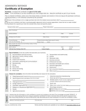 Minnesota Revenue Form St For Tax Exempt Orders