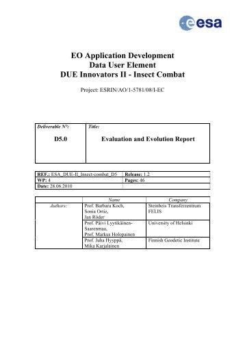 Evolution and Evaluation Report - Data User Element - ESA