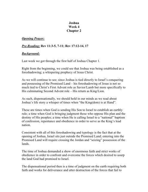 Joshua Week 4 Chapter 2 Opening Prayer: Pre-Reading: Rev 11