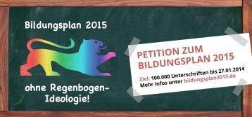 Flyer - Petition zum Bildungsplan 2015