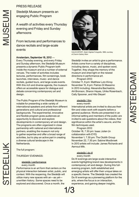 Press Release Stedelijk Museum Presents An Engaging Public