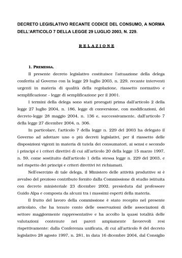 relazione codice consumo 20 luglio 2005 DGAMTC ... - Codacons
