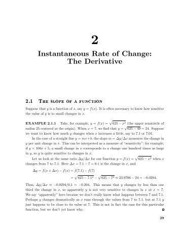 Chapter Two KEY CONCEPT: THE DERIVATIVE - PAIM.PRO.BR