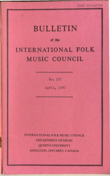 Apr 1980 - International Council for Traditional Music