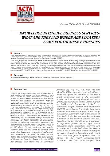 knowledge intensive business services - Acta Technica Corviniensis