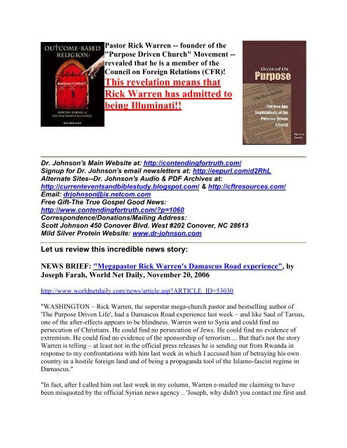 PDF: Rick Warren - Contending for Truth by Dr  Scott Johnson